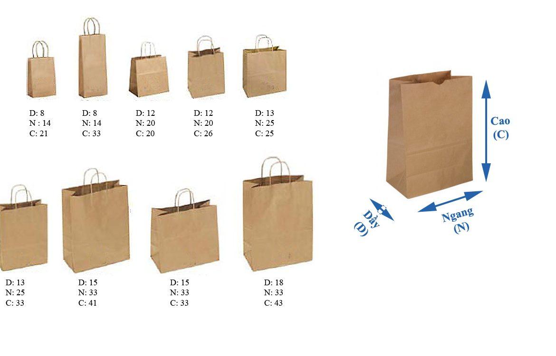 Túi giấy và chuẩn kích thước phổ biến